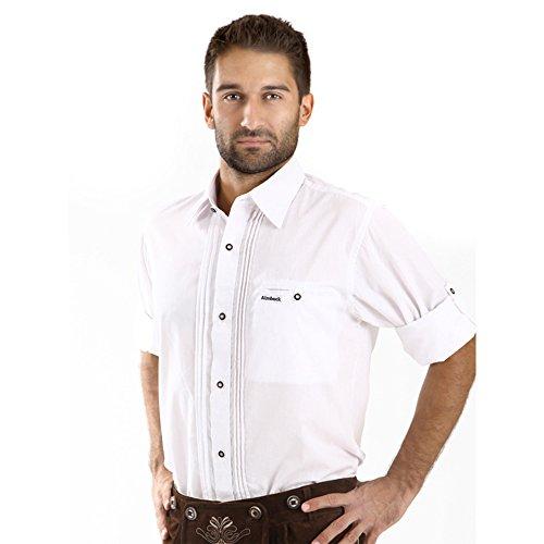 ALMBOCK Trachten Hemd Herren weiß - Trachtenhemd mit Standard Kent-Kragen aus Baumwolle, fürs Oktoberfest, slim-fit, langarm -traditionelles Trachtenhemd verfügbar in Gr. S-XXXL