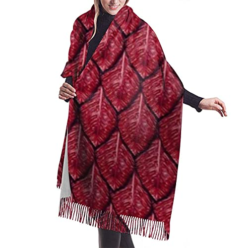 Pashmina Style Wrap Scarf Red Dragon Scales Casual Shawl Scarf Cashmere Winter Scarf For Women Men Shawl Wrap With Tassel Length 196 cm