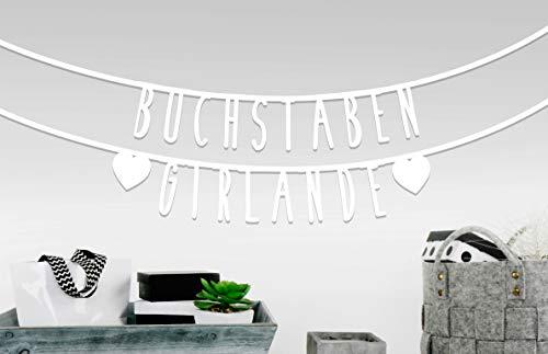MIK Funshopping Individualisierbare Buchstaben-Girlande für Geburtstag Hochzeit Feier Party Junggesellenabschied aus Papier (Weiß - 105 Zeichen)
