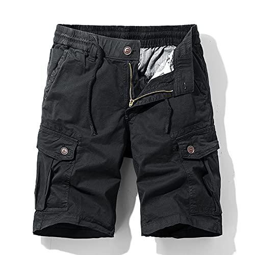 Jubaton Mens Work Heavy Duty Half Pants Summer Casual Elastic Cargo Loose Fit Correr y Hacer Ejercicio Hombres Pantalones Cortos Multibolsillos 31