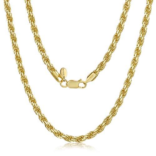 collana uomo 4mm Amberta Collana Placcata Oro Giallo 18K su Argento Sterling 925 per Uomo - Maglia Corda - Spessore 4 mm - Lunghezza 50 cm
