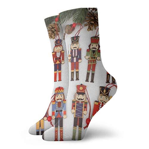 BJAMAJ Unisex Sokken Notenkraker Soldaat Kerst Decoratie Interessant Polyester Crew Sokken Volwassene Sokken Katoen