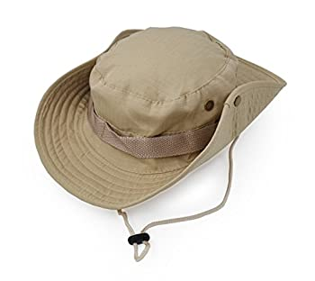 Outdoor Wide Brim Sun Protect Hat Classic US Combat Army Style Bush Jungle Sun Cap for Fishing Hunting Camping Khaki 6