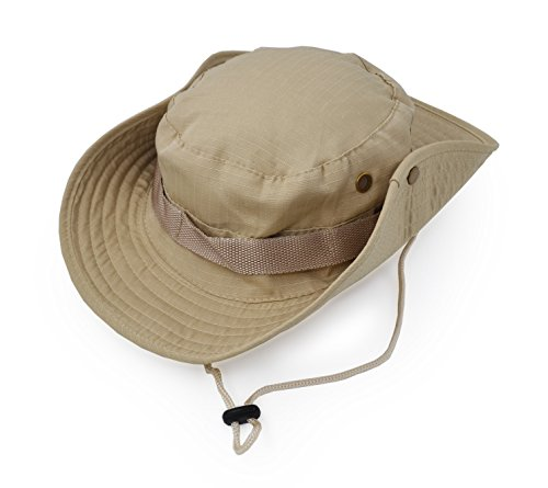 Outdoor Wide Brim Sun Protect Hat, Classic US Combat Army Style Bush Jungle Sun Cap for Fishing Hunting Camping Khaki 6