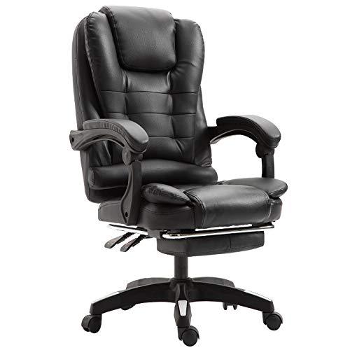 Lounger Lederen Bureaustoel Met Taille Kussen, Ergonomische Draaibaar En Verstelbare Zwarte Stoel, Comfortabel Dik Armleuningen/Hoofd- En Foot Pads, Seatable En Reclining