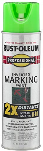 Rust-Oleum 266574 Professional 2X Distance Inverted Marking Spray Paint, 15 oz, Fluorescent Green