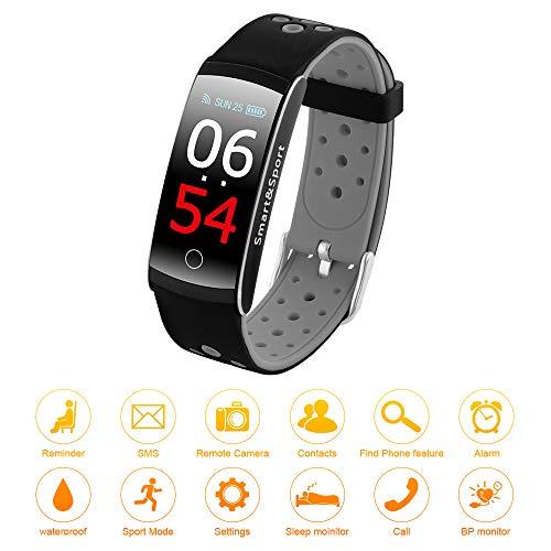 XCSOURCE Q8S Fitness Tracker IP68Impermeabile Orologio Intelligente Bracciale Heart Rate Blood Pressure Monitor contacalorie contapassi Chiamata Allarme Nero per Android iOS AC1627