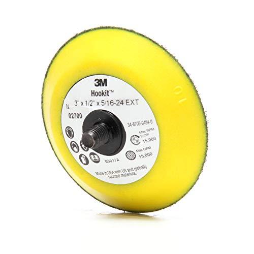 """3M Hookit Disc Pad - For Hook and Loop Discs - Use With Random Orbital Sanders, Rotary Sanders, Angle Grinders - 3"""" x 1/2"""" x 5/16-24 External - 2700"""