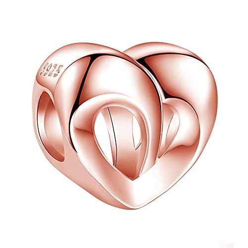 LIJIAN DIY 925 Plata Esterlina Hueco Doble Corazón con Cuentas con Encanto Romántico Chapado En Oro Rosa Adecuado para Regalo Original De Pulsera Pandora