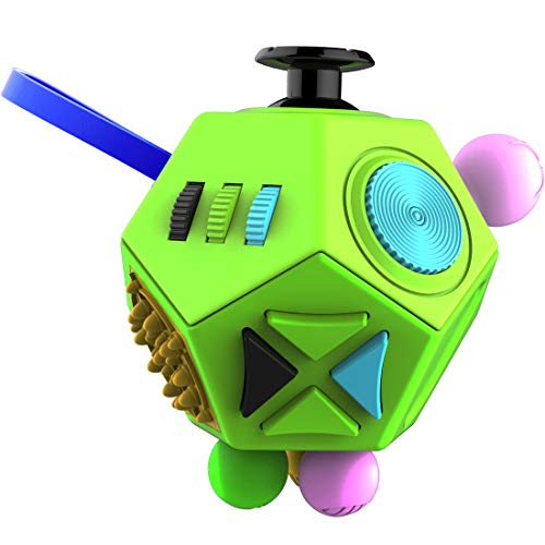Fidget Dodecagon –12-Side Fidget Cube Relieves Stress and Anxiety Anti Depression Cube for Children and Adults with Autism(B1 Green)