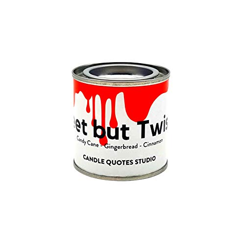 Sweet but Twisted Scented Wood Wick Candle – Candy Cane Gingerbread Cinnamon Candles for Men and Women – Soy Blend Candle – Festive Holiday Home Office Candle – Luxury Paint Tin Candles with Lid