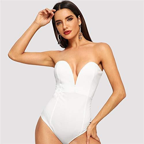JJHR Body Donna Bianco con Scollo A Cuore Bustier Body con Scollo A V Senza Spalline Casual Body Senza Maniche Donna Plain Tute Eleganti, S