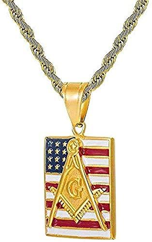 Yiffshunl Collar Iced out Hip Hop Collar Bandera Americana Masónica Pavimentado Rhinestone Collar y Colgante de Acero Inoxidable para Hombres Longitud 60Cm