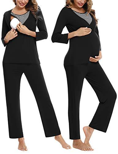 Akalnny Damen Stillpyjama Still Schlafanzug Pyjama Schwangerschaft Mutterschaft Nachtwäsche mit Stillfunktion