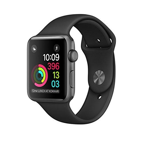 Apple Watch Series 2 38mm Aluminiumboîte Space gris avec Sportarmband noir