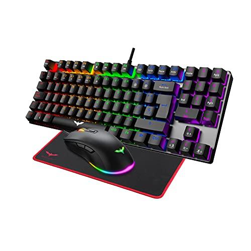 havit Teclado mecánicos Gaming español con Cable, Teclados Gaming con Interruptor Rojo de 90 Teclas, Ratón Gaming programables, Alfombrilla Gaming,para y PC/Netbook/Gamer