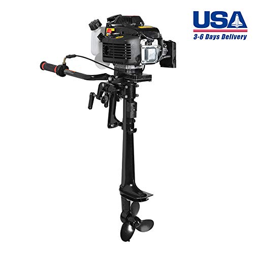 Zinnor Outboard Motor Boat Engine 4 Stroke 3.6 HP Outboard Motor with Air Cooling System, USA Shipping