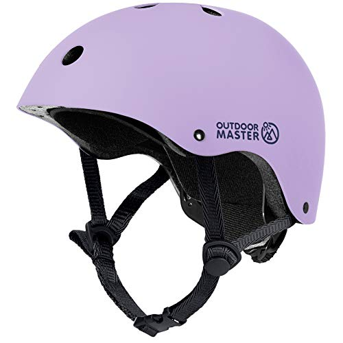 OutdoorMaster Kids Skateboard Cycling Helmet - ASTM & CPSC Certified Adjustable Multi-Sports Helmet with Removable Liners for Skateboarding Skating Scooter Rollerblading - Purple - M