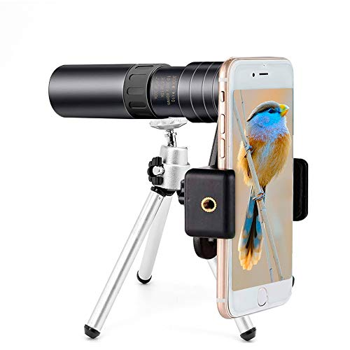 Monocular Telescope for Smartphone 4k 10-300x40mm - Monocular Telescope for Adults, Monocular Telescope Zoom for iPhone Waterproof, Fogproof, HD, Easy Focus- use for Hiking Hunting
