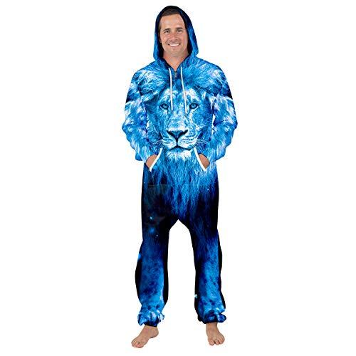 Leezeshaw Combinaison à capuche unisexe 3D noir et blanc avec imprimé du Roi Lion à manches longues - Bleu - M