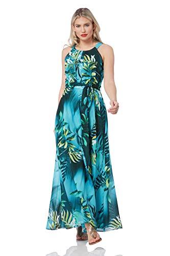 Roman Originals dames neckholder-maxi-jurk met tropical-print - dames lange, lichte zomerjurk zonder mouwen, A-lijn, voor vakantie, zomer