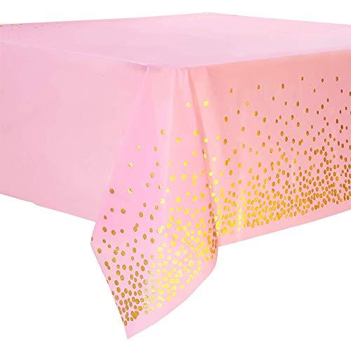 "SUNSHINETEK 2 Pack Manteles Desechables Cubiertas de Mesa de plástico Confeti de Puntos de Oro Rosa Manteles rectangulares para Fiestas 54 ""x 108"""