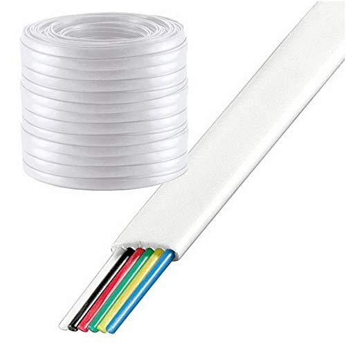 100 m erenLine® Telefonkabel 6-adrig; Flachkabel; weiß; [Telefon-Flach-Kabel] (Grundpreis: € 0,17/m)