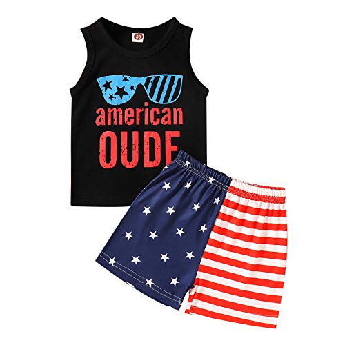 Fourth of July Infant Boy Outfit Sleeveless Tank Tops Stars Stripe Shorts Set Toddler Baby Boy 4th of July Clothes (Black,2-3 T,)