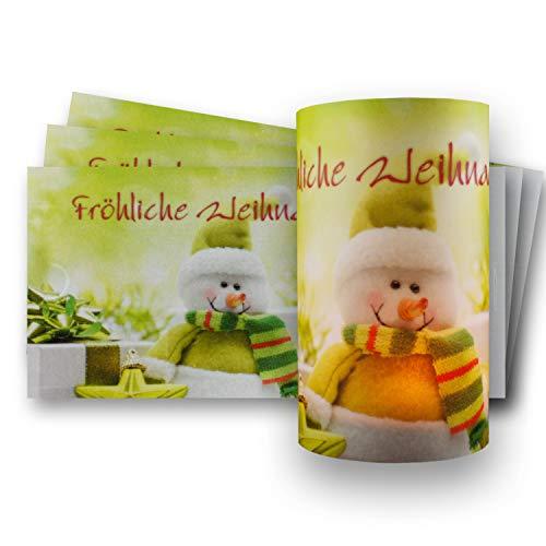 10x Teelichtkarten mit weihnachtlichem Motiv