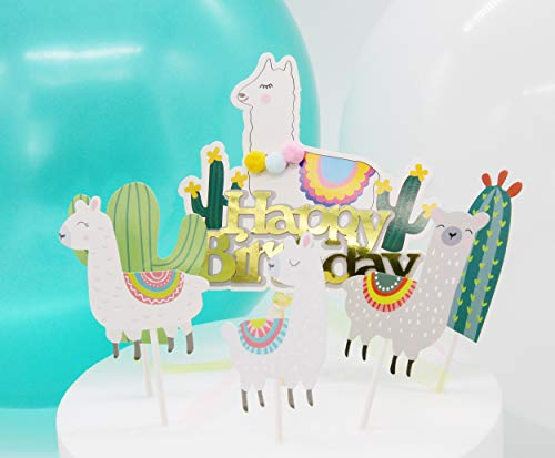 Regendeko Happy Birthday Alpaka Kaktus Die Wüste Kinder Party Kuchendekoration Cake Toppers Geburtstagskuchen Deko (Birthday Set)