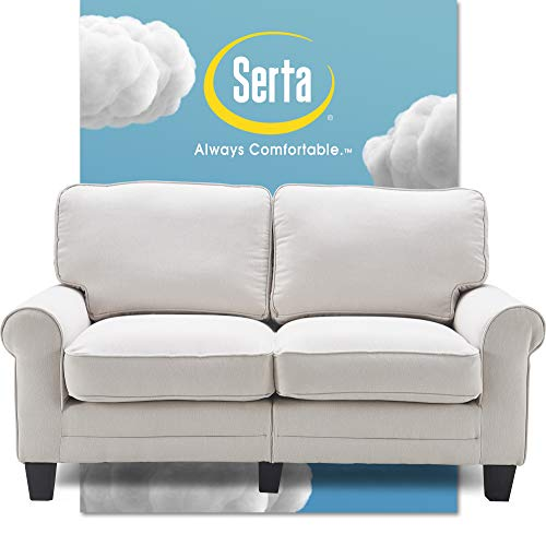 Serta Copenhagen Sofa Couch for Two People, Pillowed Back Cushions and Rounded Arms, Durable Modern Upholstered Fabric, 61' Loveseat, Cream