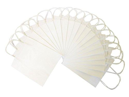 folia 21200 - Papiertüten aus Kraftpapier, Geschenktüten, 20 Stück, ca. 12 x 5,5 x 15 cm, weiß - zum Basteln, Verzieren und Verschenken