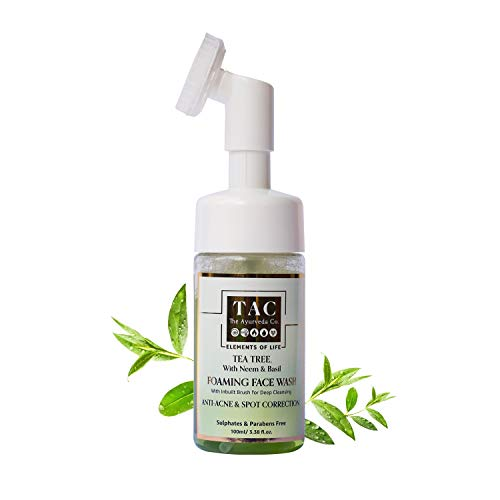 TAC – The Ayurveda Co. Tea Tree Foaming Face Wash with Neem & Basil with Brush for Deep Cleansing with Tea Tree Essential Oil – Sulphates and Paraben Free – 100Ml