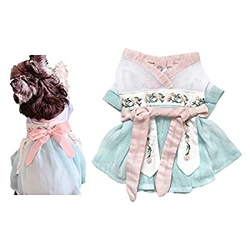 Dog Cat Costumes Dress Summer Wear Thin Clothes Pet Hanfu for Small Dogs Cats Pets Han Dynasty Costume