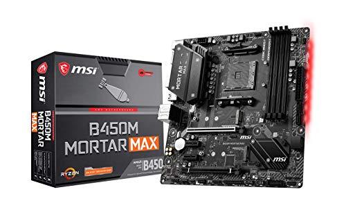 MSI B450M MORTAR MAX placa base mATX, AM4, DDR4, LAN, USB 3.2 Gen2, TYPE-C, M.2, Mystic Light Sync, HDMI, Display Port, AMD RYZEN 1, 2 y 3 generación Ready (Reacondicionado)