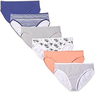 Amazon Essentials Cotton Stretch Hi-Cut Brief Panty, 6-Pack Pantis, Multicolor (Coral/Floral/Navy/Nautical Stripe/Polka Dot), Large
