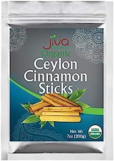 Jiva Organics Organic Ceylon Cinnamon Sticks 7 Ounce Bag - Approx. 45 sticks, 3 inch, Fair Trade, Gluten Free, Non-GMO fro...
