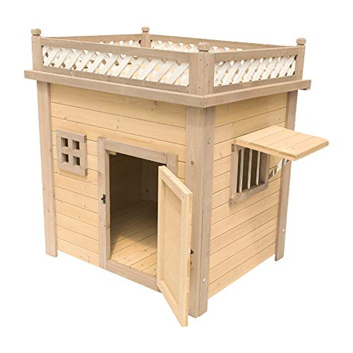 LiangDa Outdoor Pet House Outdoor Pet Shelter Indoor Dog Kennel Cat House For Puppies And Dogs Cat Castle Outdoor Pet Shelter (Color : Natural, Size : 66x85x80cm)
