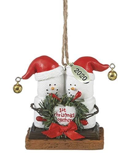 Twisted Anchor Trading Co Our First Christmas Ornament 2020 Smores Wedding Ornament Just Married with Mr and Mrs Smores Ornament in Gift Box