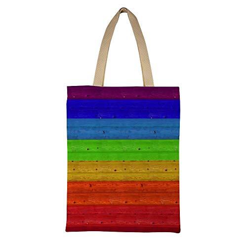 DKISEE - Bolso de mano de lona reutilizable con diseño de arcoíris...