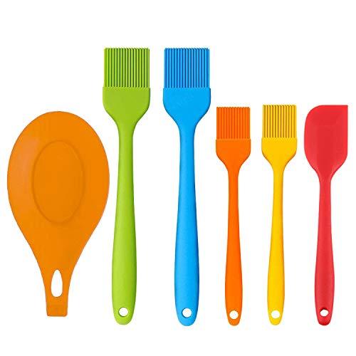JLySHOP Basting Brush Siliconen Gebak Borstel met Isolatie Mat en Schraper Set voor BBQ, Hittebestendige BPA Gratis & Vaatwasser Veilig, Lange Handvat Keukengerei Gadgets Varying Color 6 Pack