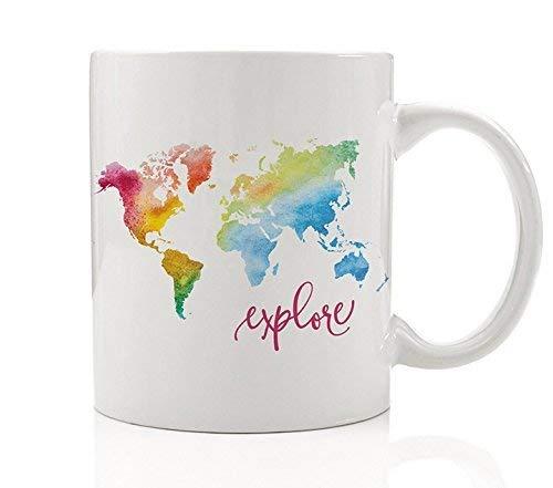 Colorful Coffee Mug Gift Idea Explore Watercolor Rainbow World Map Adventurous Traveler Inspire Travel Wanderlust Man Woman Christmas Birthday Grad Present 11 oz Ceramic Tea Cup by Digibuddha DM0008