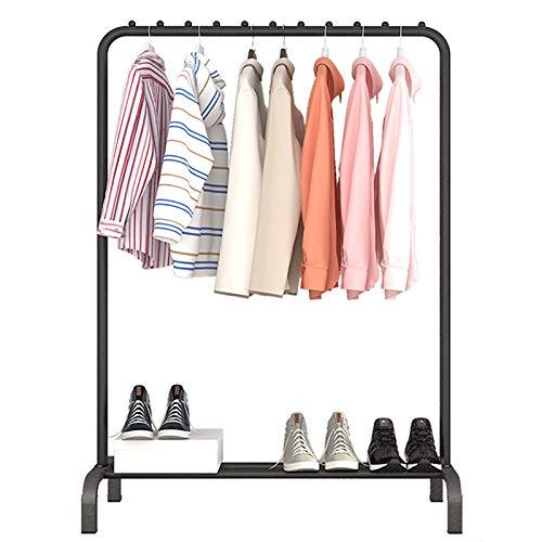 Droogrek Metalen kledingrek Vrijstaande hanger Slaapkamer Kledingrek Met onderste opbergvak voor dozen Schoenen, zwart