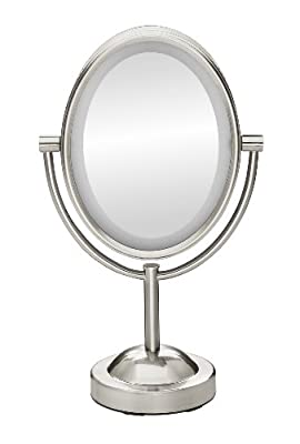 Conair Oval Shaped Double-Sided Lighted Makeup Mirror; 1x/7x Magnification, Satin Nickel