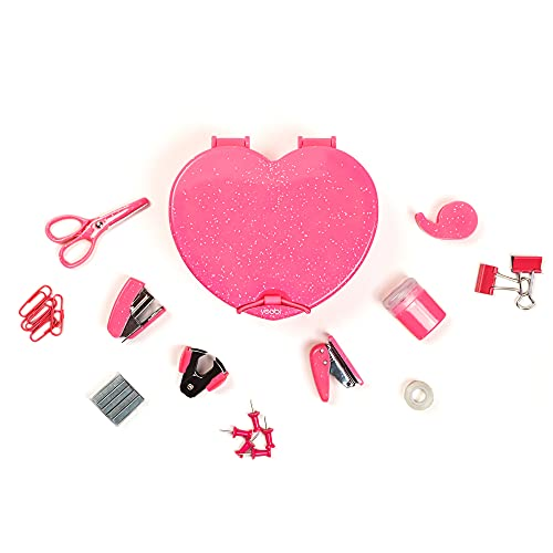 Yoobi Mini Supply Kit Novelty Heart | School, Home or Office Use | 9 Piece Kit Includes Stapler, Tape, Hole Punch, Pencil Sharpener, Binder Clips & More | Glitter-Infused Case and Components