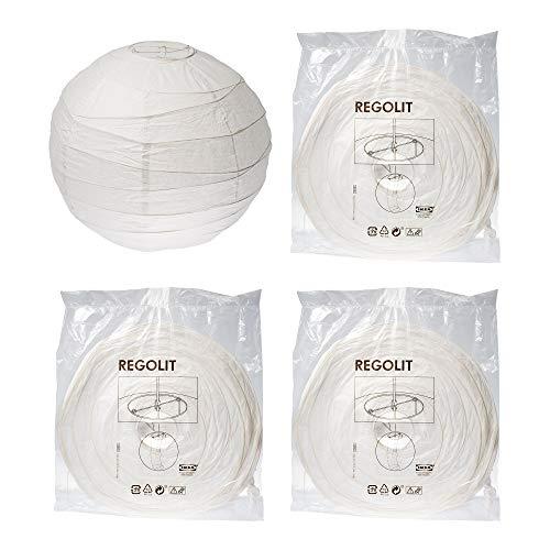 Ikea Regolit Lampenschirm, aus Reispapier, 45 cm, Weiß, 4 Stück