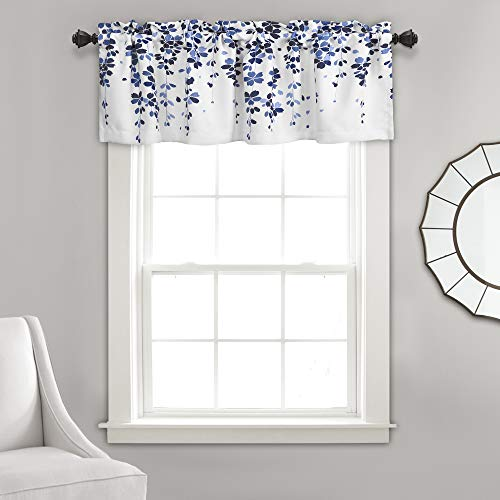 Lush Decor Weeping Flowers Navy and Blue Valance Curtain for Windows