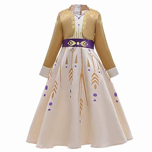 U/D Disfraz de princesa para niñas amarillo vestido fiesta Navidad Halloween Cosplay Dress up - - 3-4 años