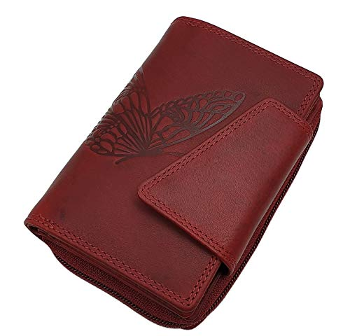 Echt Rindleder Damen Geldbörse / Geldbeutel / Portemonnaie / Portmonaise / Geldtasche / Portmonee in Hochformat mit Schmetterling-Motiv mit RFID & NFC Schutz in Cognac oder Kirschrot (Kirschrot)