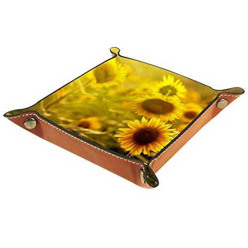 LynnsGraceland Bandeja de Cuero - Organizador - Flor - Práctica Caja de Almacenamiento para Carteras,Relojes,Llaves,Monedas,Teléfonos Celulares y Equipos de Oficina